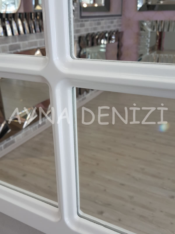 Savona Model Beyaz Renk Dekoratif Pencere Ayna-16