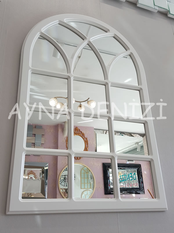 Savona Model Beyaz Renk Dekoratif Pencere Ayna-7