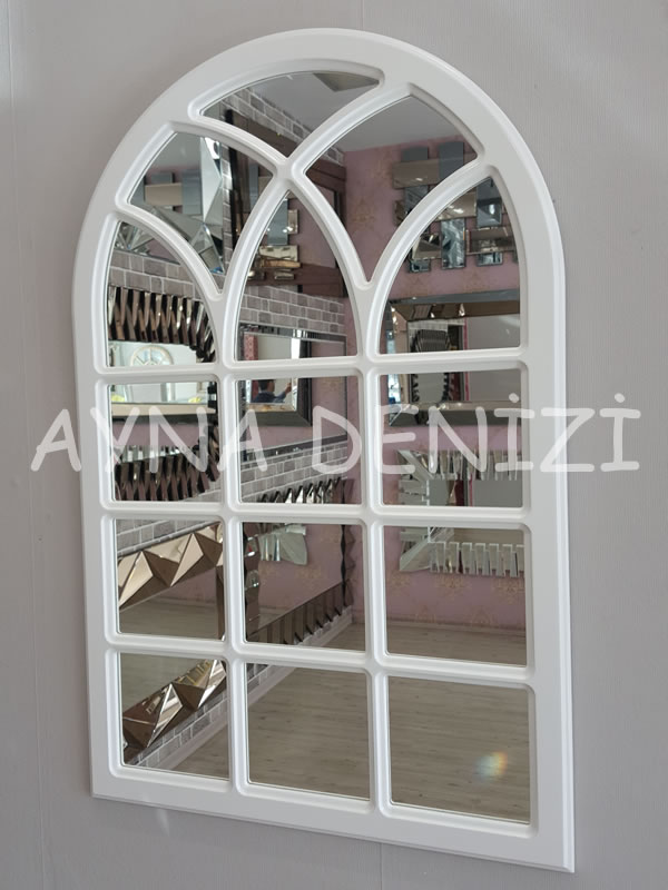 Savona Model Beyaz Renk Dekoratif Pencere Ayna-8