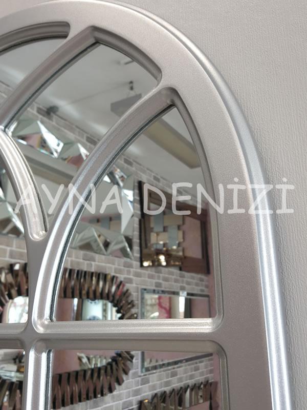 Savona Model Gümüş Renk Dekoratif Pencere Ayna-12