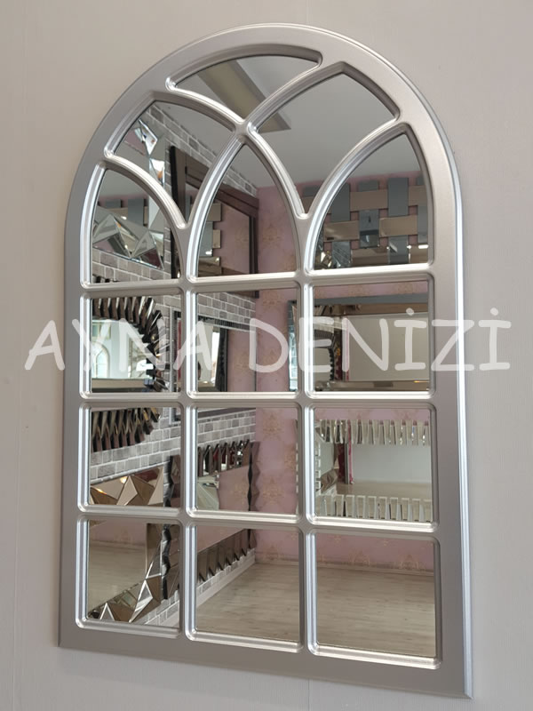 Savona Model Gümüş Renk Dekoratif Pencere Ayna-2
