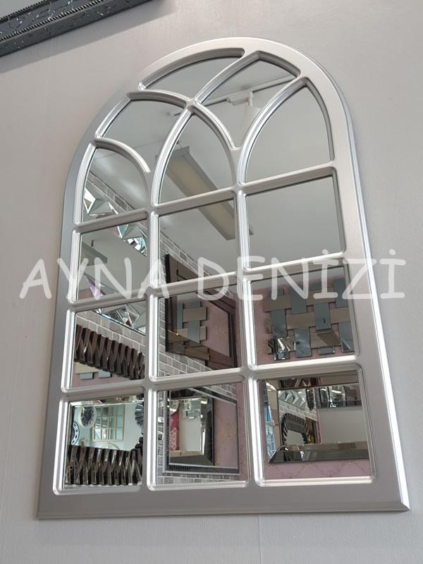 Savona Model Gümüş Renk Dekoratif Pencere Ayna-8