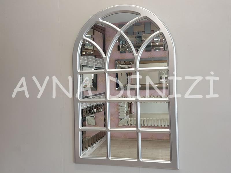 Savona Model Gümüş Renk Dekoratif Pencere Ayna
