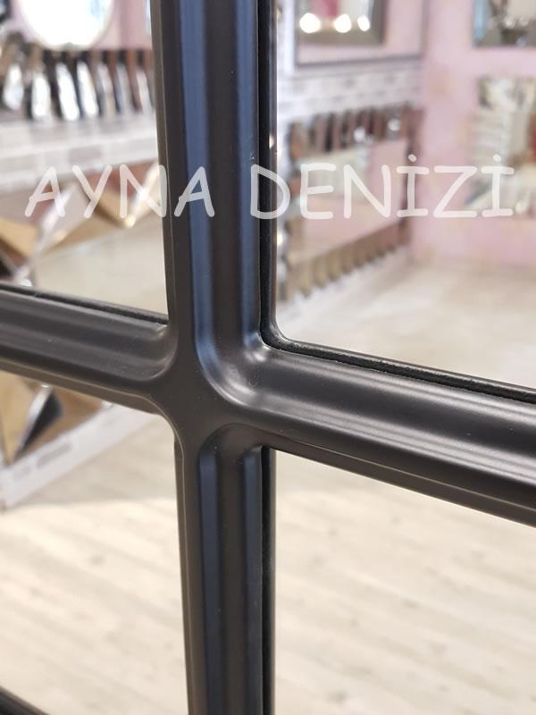 Savona Model Siyah Renk Dekoratif Pencere Ayna-17