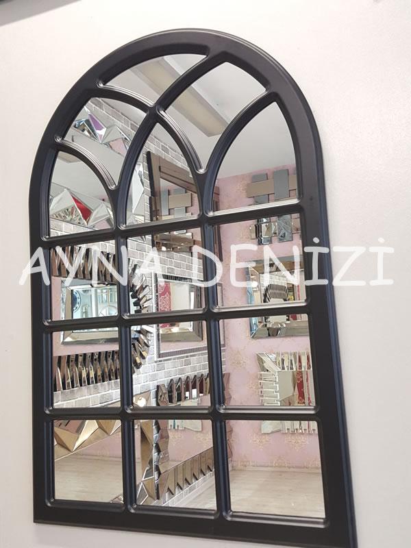 Savona Model Siyah Renk Dekoratif Pencere Ayna-3