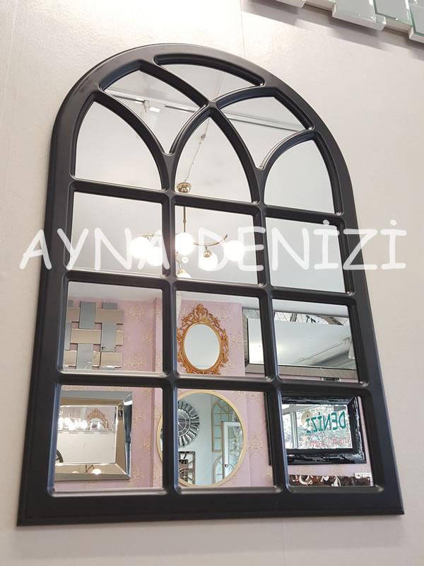 Savona Model Siyah Renk Dekoratif Pencere Ayna-7