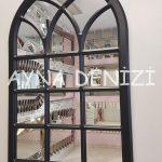 Savona Model Siyah Renk Dekoratif Pencere Ayna-9