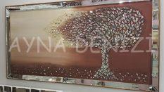 Luna Model Mozaik Aynalı Altın Bakır Renk Ayna Çerçeveli Ağaç Tablo