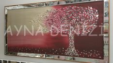 Luna Model Mozaik Aynalı Bordo Renk Ayna Çerçeveli Ağaç Tablo