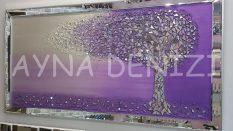 Luna Model Mozaik Aynalı Mor Lila Renk Ayna Çerçeveli Ağaç Tablo