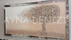 Luna Model Mozaik Aynalı Pudra Bej Renk Ayna Çerçeveli Ağaç Tablo