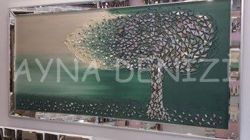 Luna Model Mozaik Aynalı Yeşil Renk Ayna Çerçeveli Ağaç Tablo