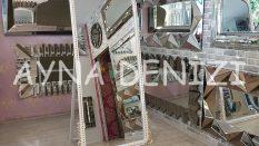 Sinyora Model Beyaz Altın Renk Ayaklı Boy Aynası